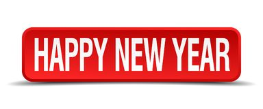 Happy new year button. Happy new year square 3d realistic isolated web button. happy new year vector illustration