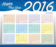 Happy new year 2016 calendar Royalty Free Stock Image