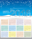 Happy new year 2016 calendar Royalty Free Stock Photo