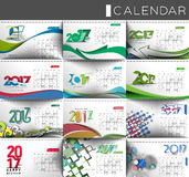 Happy new year 2017 Calendar. Collection of Happy new year 2017 Calendar - New Year Holiday design elements for holiday cards, calendar banner poster for Stock Photos
