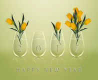 Happy New Year. New year 2017 Calendar with conceptual image of yellow tulips in glass vases royalty free illustration