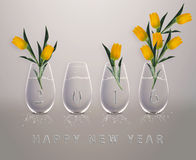 Happy New Year. New year 2016 Calendar with conceptual image of yellow tulips in glass vases, the same concept available for 2017 year Royalty Free Stock Image