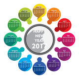 Happy new year 2017 calendar design. Creative new year 2017 calendar with round arrangement design vector Royalty Free Stock Images