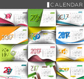 Happy new year 2017 Calendar Design Elements. Collection of Happy new year 2017 Calendar Design Elements for holiday cards, calendar banner poster for Royalty Free Stock Photos