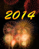 Happy new year 2014. Calendar. Fireworks on new year 2014 Stock Photos