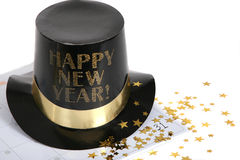 Happy New Year with calendar and gold stars Stock Photo