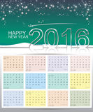 Happy new year 2016 calendar Royalty Free Stock Images