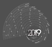 Happy new year 2019 Calendar - New Year Holiday design elements for holiday cards, calendar banner poster for decorations stock photos