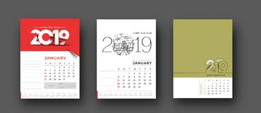 Happy new year 2019 Calendar - New Year Holiday design elements for holiday cards, calendar banner poster for decorations royalty free stock photo