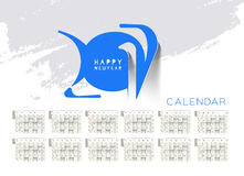 Happy new year 2017 Calendar. New Year Holiday design elements for holiday cards, calendar banner poster for decorations, Vector Illustration Background royalty free illustration