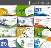 Happy new year 2017 Calendar. New Year Holiday design elements for holiday cards, calendar banner poster for decorations, Vector Illustration Background Stock Photos