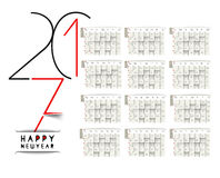 Happy new year 2017 Calendar Royalty Free Stock Photo