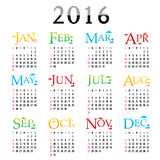 Happy New Year Calendar 2016 Vector. Design Royalty Free Illustration