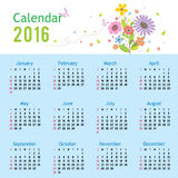 Happy New Year Calendar 2016 Vector Royalty Free Stock Images