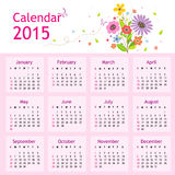 Happy New Year Calendar 2015 Vector. Happy New Year Calendar 2015 Flower Cartoon Cute Vector royalty free illustration
