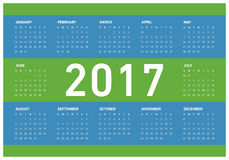Happy New Year 2017 Calendar. Vector Illustration of 2017 Calendar Design with 12 months Stock Photo