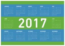 Happy New Year 2017 Calendar. Vector Illustration of 2017 Calendar Design with 12 months stock illustration