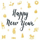 Happy New Year Calligraphic Lettering. New year  icons  santa claus, christmas tree Royalty Free Stock Photography