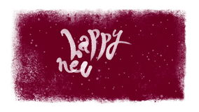 Happy New Year Calligraphic Lettering with Snow inside a Frozen Frame. Animated Happy New Year calligraphic lettering inside a white frozen farme with falling stock footage