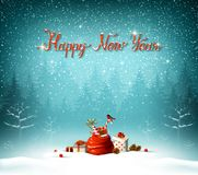Happy New Year calligraphic red insption. Bue forest on the Holiday background. Royalty Free Stock Image