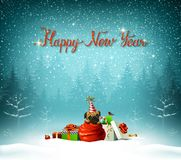 Happy New Year calligraphic red insption. Cute puppy is climbing out from Santa clauses bag. Stock Image