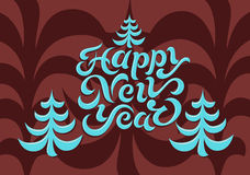 Happy New Year! Calligraphic retro Christmas card design. Vector illustration. Stock Images