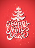 Happy New Year! Calligraphic retro Christmas greeting card design. Vector illustration. Royalty Free Stock Image