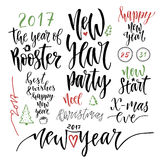 Happy New Year calligraphic set. Vector illustration with handwriting celebration quotes for Christmas decorations Royalty Free Stock Photo