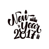 Happy New Year Calligraphy. Happy New Year 2017 Calligraphy. Greeting Card Black Typography on White Background Stock Image