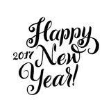 Happy New Year Calligraphy. Happy New Year 2017 Calligraphy. Greeting Card Black Typography on White Background Stock Images