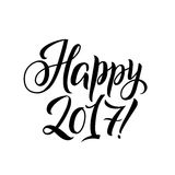 Happy New Year 2017 Calligraphy. Greeting Card Black Typography on White Background.  Stock Photos