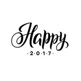 Happy New Year 2017 Calligraphy. Greeting Card Black Typography on White Background. Vector Illustration Hand Drawn. Lettering Royalty Free Stock Image