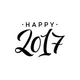 Happy New Year 2017 Calligraphy. Greeting Card Typography on Background. Vector Illustration Hand Drawn Lettering stock illustration