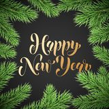 Happy New Year calligraphy hand drawn text and holly wreath ornament for winter holiday greeting card. Vector Christmas tree light. S garland frame on premium Stock Photos