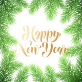 Happy New Year calligraphy hand drawn text and holly wreath ornament for winter holiday greeting card. Vector Christmas tree light. S garland frame on premium Royalty Free Stock Photography