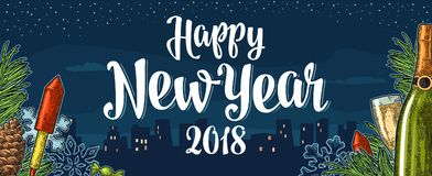 Poster Happy New Year 2018 calligraphy lettering with night city. Happy New Year 2018 calligraphy lettering and champagne glass, bottle, serpentine, rocket Stock Images