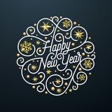 Happy New Year calligraphy lettering and golden snowflake star pattern decoration on white background for Xmas greeting card desig. N. Vector golden sparkling Stock Photography