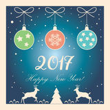 2017 Happy New Year. Calligraphy lettering greeting card with Glitter, Christmas tree, reindeer, falling snowflakes, snow, sparkles, light effect, confetti on vector illustration
