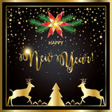 2017 Happy New Year. Calligraphy lettering greeting card with Glitter, Christmas tree, reindeer, Gold snowflakes, sparkles, light effect, confetti on luxury vector illustration