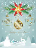 2017 Happy New Year. Calligraphy lettering greeting card with Glitter, Christmas tree, reindeer, houses, Gold Christmas balls, falling snowflakes, sparkles Royalty Free Stock Photo