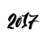 2017. Happy New Year Calligraphy Lettering. Happy Holiday Greeting Card Inscription Stock Photo