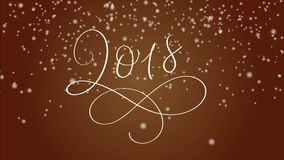 2018 happy new year calligraphy lettering text and snow on red background. Christmas greeting animation for web banner vector illustration