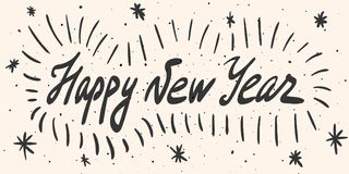 Happy New Year calligraphy phrase with grunge design elements. Happy New Year calligraphy phrase with grunge design elements, dots, lines, snowflakes. Vector Royalty Free Stock Photography
