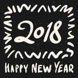 2018 Happy New Year calligraphy phrase. Modern handwritten lettering design. royalty free illustration