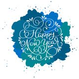 Happy New Year calligraphy text on blue abstract vector background with sparkles. Greeting card design template.  Royalty Free Stock Photo