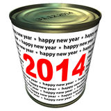 Happy new year 2014 - can with numbers 2014 Royalty Free Stock Photography