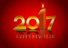 Happy new year 2017 and candle. Data 2017 with candle and reflection on red background Royalty Free Stock Photo
