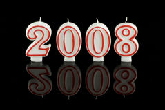 Happy New Year candles 2008 Stock Photos