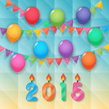 Happy new year candles balloon and party flags sky background. Happy new year 2015 candles with balloons bunting and garland decoration on faceted background stock illustration