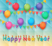 Happy new year candles balloon and party flags sky background. Happy new year candles with balloons bunting and garland decoration on faceted background stock illustration